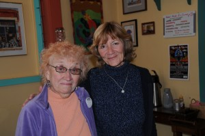 Two of the members of the local Thaddeus McPherson Society of the Arts poetry club, are Poet Laureate Bonnie Maldonado, left, and Elise Stuart. (Photo by Harry Williamson)