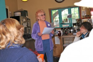 Bonnie Buckley Maldonado, Silver City's first poet laureate, reads one of her poems at the Yankie Creek Coffee House in downtown Silver City. (Photo by Harry Williamson)